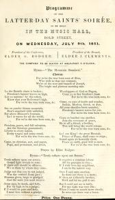 Programme of the Latter Day Saints' Soirée